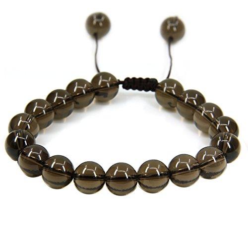 Natural A Grade Smoky Quartz Gemstone 10mm Round Beads Adjustable Braided Macrame Tassels Chakra Reiki Bracelets 7-9 inch Unisex