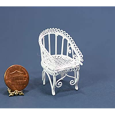 Dollhouse Miniature White Wire Chair in Half Scale: Toys & Games