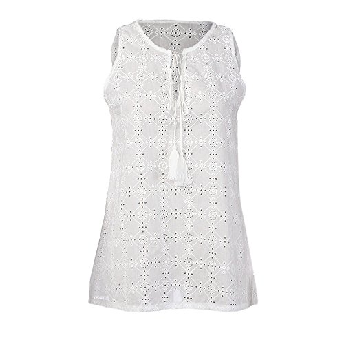 TnaIolral Women T-Shirt Pullover Solid Sleeveless Summer Blouse White