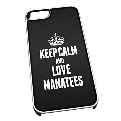 Bianco cover per iPhone 5/5S 2453 nero Keep Calm and Love Manatees