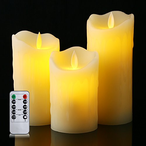 Ethical Fur Products - Flameless Candles With Remote Timer Tear Waved Battery Candles Operated LED Candles Pillar with 10 Key by Letetop (Ivory)
