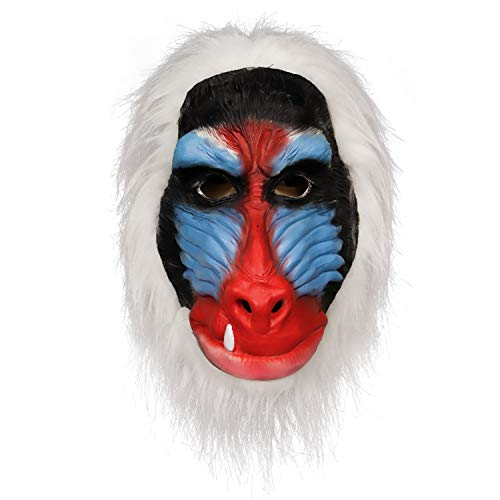 (Handmade Deluxe The Lion King Cartoon Colorful Red Rafiki Baboon with Hair Mask Ape Costume Party Decoration Mask )