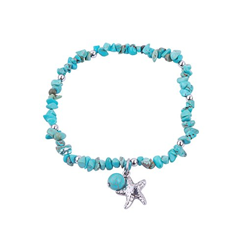 REEBOOOR Starfish Ankle Bracelet Amethyst Healing Stone Stretch Anklet Bracelet Chakra Beach Foot Jewelry for Women Girl (Turquoise with Starfish)
