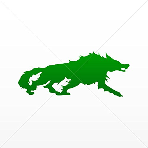 Decal Stickers Wolf Figure Attack Car door Hobbies Sports ca Green Dark (5 X 2.05 Inches) -