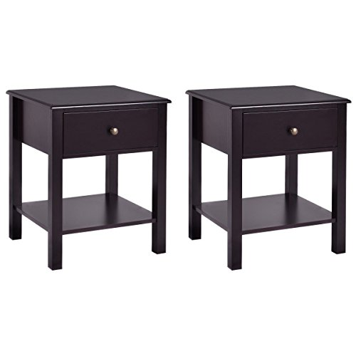 Giantex Night Stand End Table w/Drawer and Shelf, Storage Cabinet for Bedroom, Modern Beside Accent Table, Brown