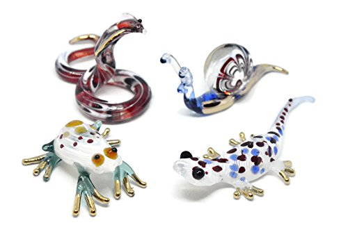 NaCraftTH Glass Figurines Colorful Wild Animal Snail Frog Lizard Snake Murano Artwork Crystal Miniture Handicraft Figure Fish Tank Aquarium Decor, Set of 4 (Color May Vary)