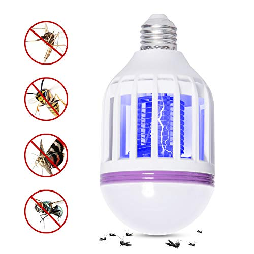 (GLOUE Light bulb02 Bug Zapper Light Bulb Medium Screw E26 Base 120V 10W Zap Wasp Bug Mosquito Zapper LED UV Lamp Flying Moths Killer)