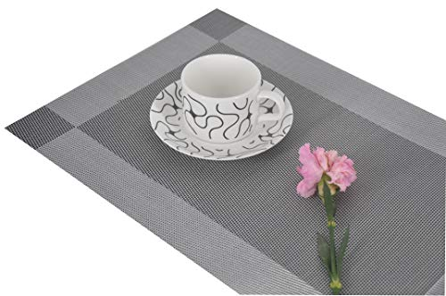 "F&H Designer Placemats - Wipe Clean, Heat Resistant, Stain Resistant, Non-Slip - Set of 4 (18"" x 12"") (4, Gray) ()"