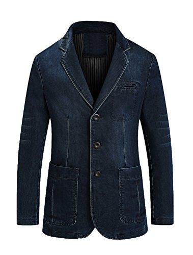 (Mordenmiss Men's Denim Sport Coat Distressed Work Blazer Three-Buttons Jeans Outwear L Dark Blue)
