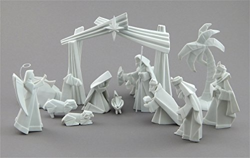 Porcelain Origami 15 Piece Nativity Set with Animals and Backdrop