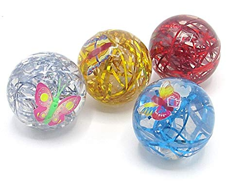 Toy Cubby Light Up Bouncing Ball with Zoo Animals and Confetti Ribbons Inside - Set of 4 Clear LED Animal Bouncing Balls - Assorted Gift Collection Blinking LED Super Bounce Balls - 4 Pack (Light Up Shaking Ball)