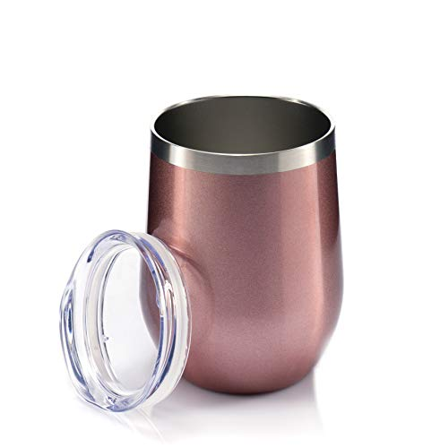 Sips Insulated Wine Tumbler With Lid - Insulated Stainless Steel Wine Glasses 12 Oz Each. 18/8 Food Grade Stainless Steel - BPA Free Lid - Rose Gold (Yellow Rose Wine)