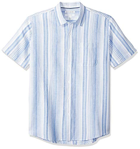 Amazon Essentials Men's Regular-Fit Short-Sleeve Linen Cotton Shirt, Blue Stripe, X-Small (The Boy In The Striped Pajamas Sparknotes)