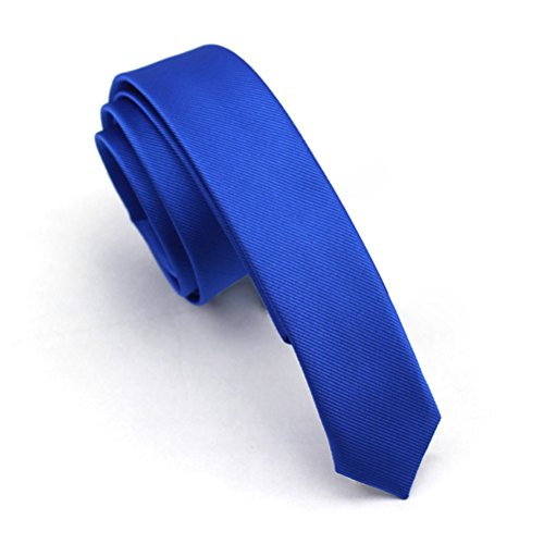Elviros Mens Solid Color Eco-friendly Fashion Skinny Tie 1.6'' (4cm) Royal... (Royal Blue Skinny Tie)