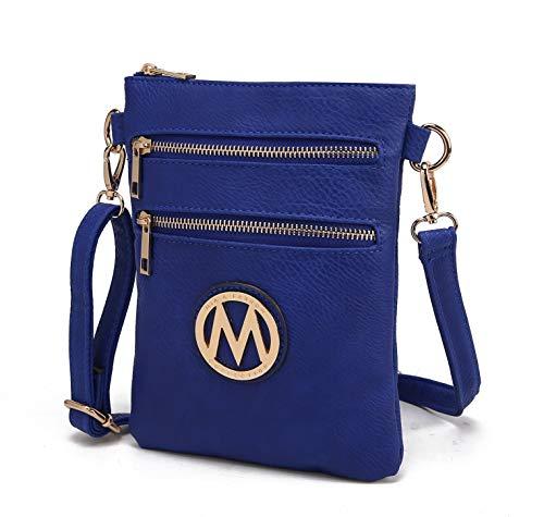 MKF Collection Woman's Handbag Pocketbook, Crossbody Shoulder Messenger Purse, Multi Zipper