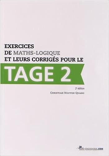 Livre gratuits en ligne Exercices de maths-logique et leurs corrigés pour le Tage 2 pdf
