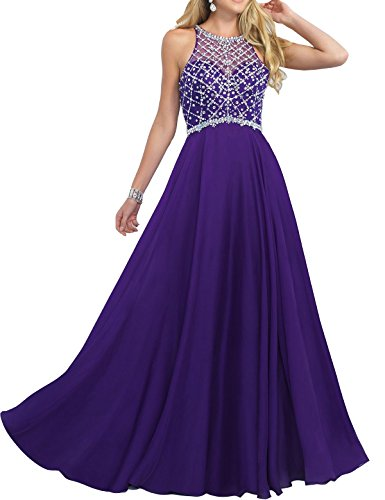 Hotprom Damen A-Linie Illusion Perle Chiffon Lange Ballkleider Abendkleider Abschlussballkleid Formale Kleider Lila