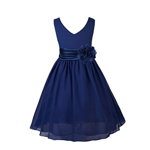 FEESHOW Kids Big Girls Chiffon Bridesmaid Wedding Pageant Graduation Party Flower Girl Dress with Sash Navy Blue 6