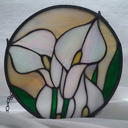 White Calla Lily Stained Glass Window Hanging Panel
