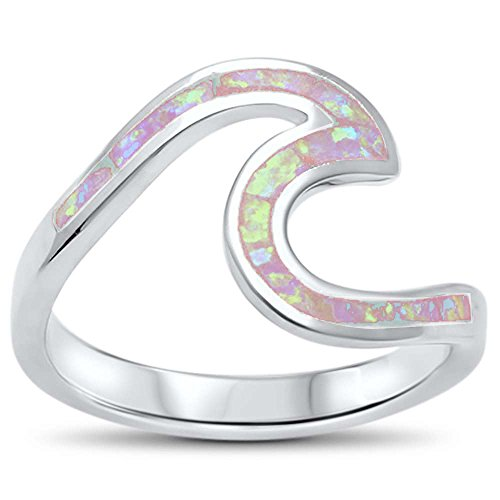 Oxford Diamond Co Wave Ocean Beach Lab Created Opal .925 Sterling Silver Ring Sizes 4-12 Colors Available (Lab Created Pink Opal, ()