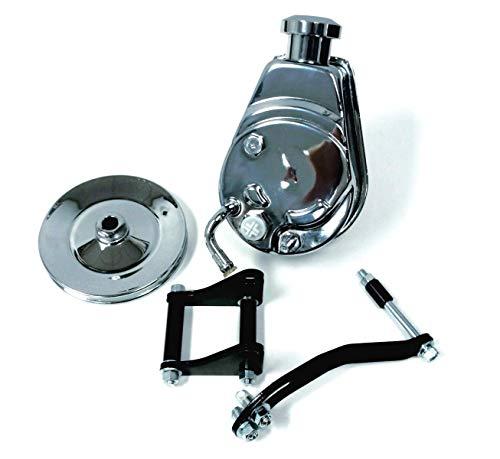 Sbc Chevy Chrome Saginaw Style Power Steering Pump W/Pulley & Black Bracket