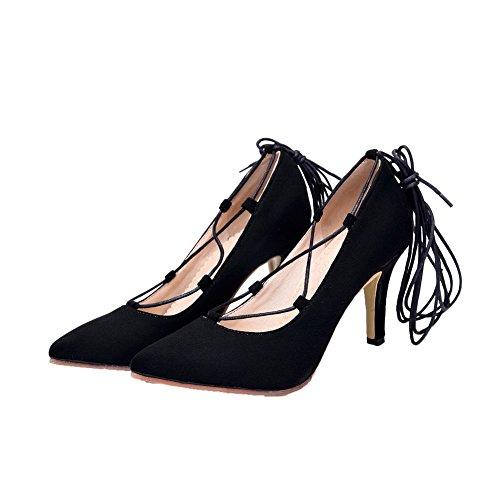 VogueZone009 Damen Blend-Materialien Spitz Zehe Schnüren Gemischte Farbe Pumps Schuhe Schwarz