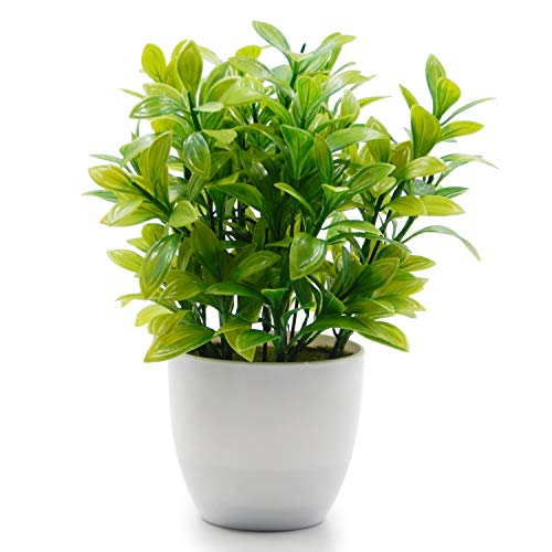 OFFIDIX Mini Plastic Artificial Eucalyptus Leaves Topiary Plant with Pots,Faux Plant Small Plants for Home,Office and Bathroom Decoration (Plants Pots In Fake)