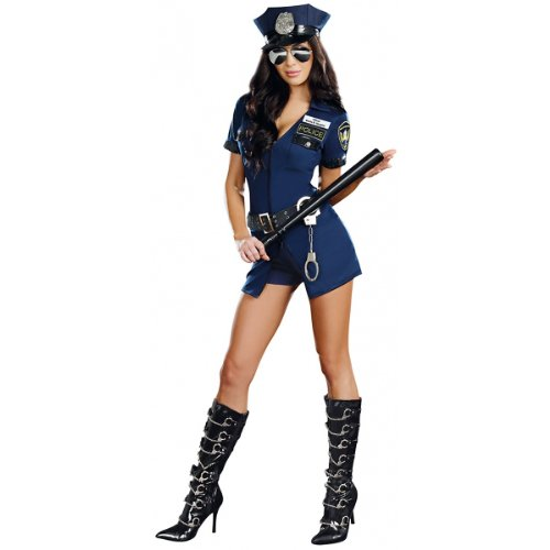 Dreamgirl Women's Officer B Naughty Costume, Blue, Extra Large ()