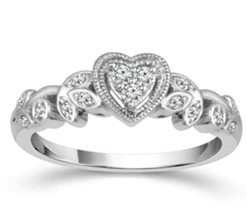 10K White Gold Heart Ring Vintage Style Promise Engagement Ring 1/10ctw Diamond Vines Style by Midwest Jewellery (Image #3)