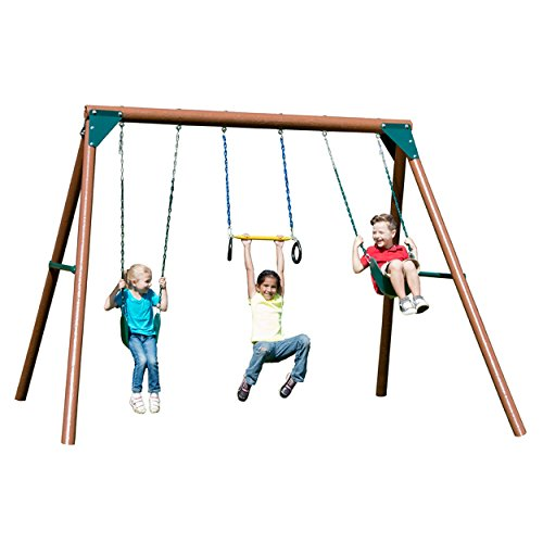 Swing-N-Slide Orbiter Complete Wooden Swing Set, Safety Tested for Backyards with Two Swings and Trapeze Handle - Swing Slide Trapeze N