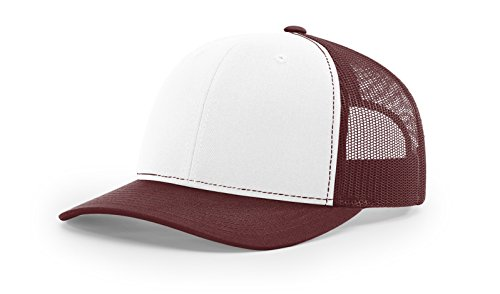 The Hat Pros Richardson Structured Classic Trucker Snapback 112 White/Maroon (Maroon Classic Hat)