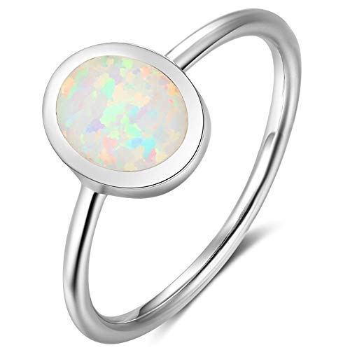 Fire Opal Sterling Silver Plain Wedding Engagement Ring (9)