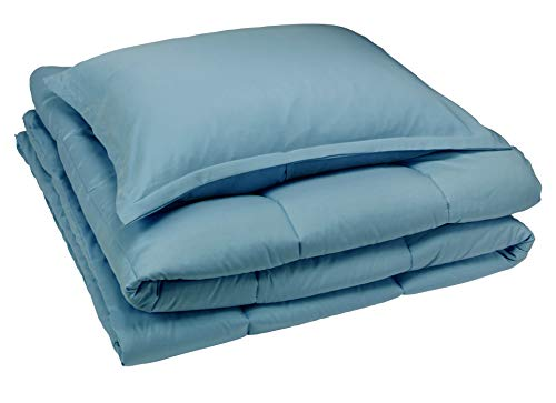 AmazonBasics Comforter Set, Twin / Twin XL, Light Dusty Blue, Microfiber, Ultra-Soft (Blue Comforter Sets Light)