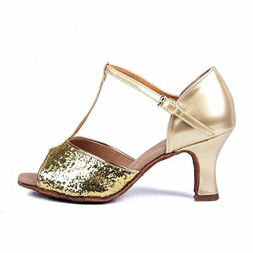 Scarpe Caviglia Onecolor Scarpa Latino Moderno Scarpe Samba Ballo alla per da Latino Cinturino Scarpe Ballo Sandali di Cuoio Jazz Danza da Oro Donna Adulti BYLE xqSzXS