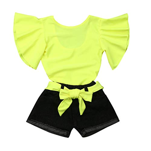 SIN vimklo Toddler Baby Girl Short Sleeve Fluorescent Color Ruffle Tops+ Jeans Shorts Outfits Set(12M-5Y) Yellow