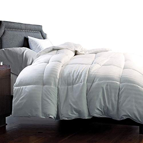 Hotel Grand 350 Thread Count Damask White Goose Down Blend Comforter Twin (Hotel Comforter Twin Grand)