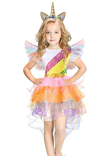 Rainbow Unicorn Costume Halloween Girls Dress Up Costumes for Party Special Occasion (M(4-6Years), Rainbow) -