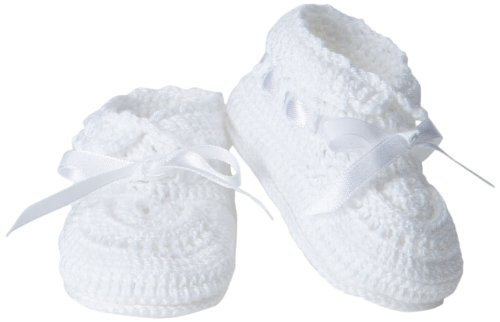 Jefferies Socks Baby-Girls Infant Hand Crochet Bootie, White/White, Newborn