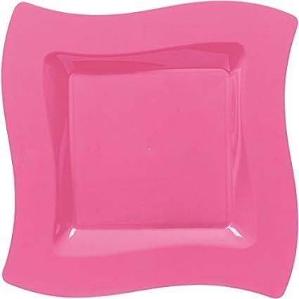 Party Perfect Premium Wavy Square Plates Tableware Bright Pink Plastic  10\u0026quot;  sc 1 st  Amazon.com & Amazon.com: Party Perfect Premium Wavy Square Plates Tableware ...