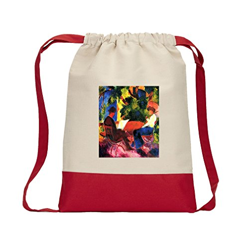Couple At The Garden Table (Macke) Canvas Backpack Color Drawstring - Red by Style in Print