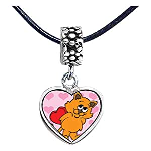 Chicforest Silver Plated Cat With Valentine Photo Flower Head Dangle Heart Charm Beads Fits Pandora Charm Bracelet
