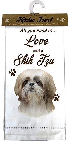 E&S Pets 700-87 Shih Tzu Kitchen Towels, White
