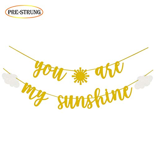You Are My Sunshine Gold Glitter Banner with Sun and Clouds for Baby Shower Kid's Birthday Party Decorations