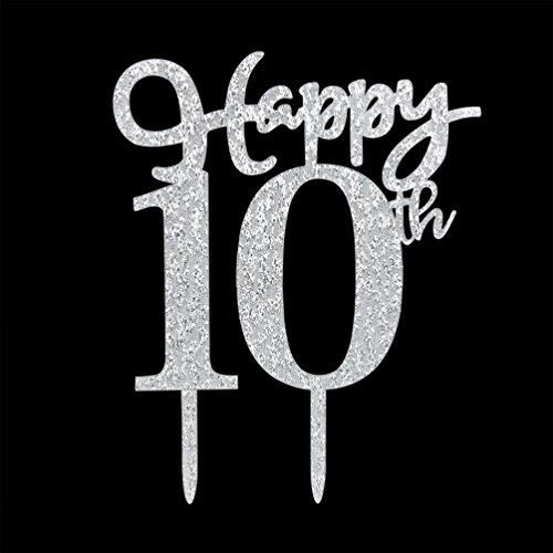 er, Glitter Silver 10th Birthday Wedding Anniversary Party Cake Topper Decoration Sign (Anniversary Cake Decorations)