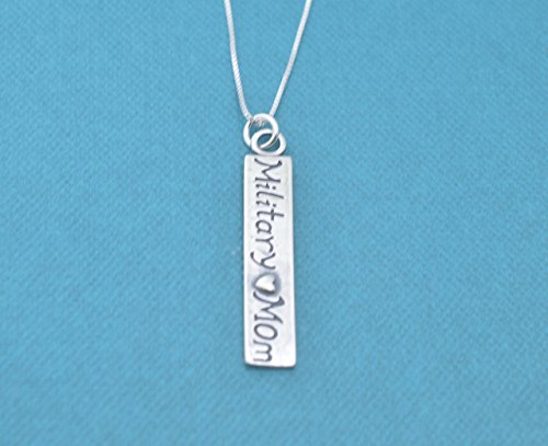 Army Mom Pendant (Military mom charm pendant on an 16 Sterling Silver Box Chain with two inch extender. Army mom. Navy mom. Deployment gift for mom.)