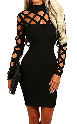 Lady Sexy Midi Bodycon Sheer Dress with Criss Cross Long Sleeves Black S