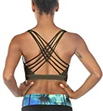icyzone Sports Bras for Women – Activewear Strappy Padded Workout Yoga Tops Bra