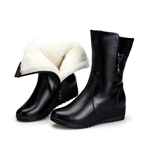 Scarpe High Antiscivolo Classic Ladies Cotone In Warm Pelle Gtyw Donna Stivali Winter Boots Heels Women's Black Da 5w8nCx4qZ