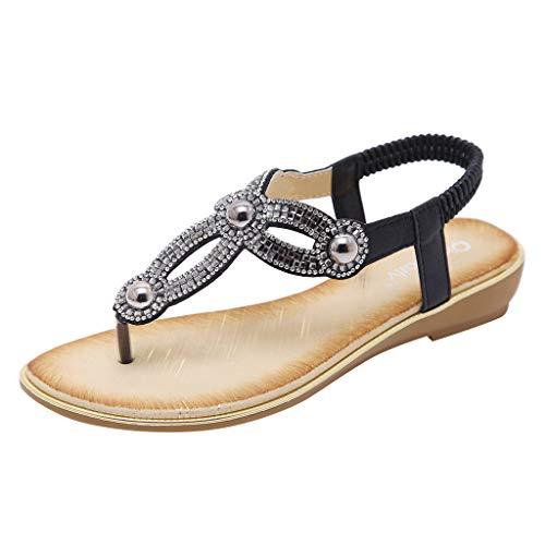 (Flip Flops Sandals for Women ~TIFENNY Sandals Summer Beach T-Strap Flat Sandals Comfort Walking Shoes Black)