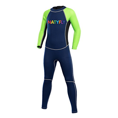 (NATYFLY Neoprene Wetsuits for Kids Boys Girls Back Zipper One Piece Swimsuit UV Protection-Brand (Green-2MM-Long Sleeve, L-for Height 47
